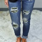 Camo Patch Destroyed Skinny Jeans