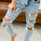 Sky Blue Wash Ripped Slim-fit Jeans