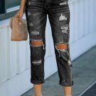 Black Washed Ripped Straight Legs Jeans