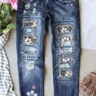 Gray Floral Leopard Print Patchwork Distressed High Waist Jeans