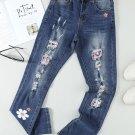 Pink Floral Leopard Print Patchwork Distressed High Waist Jeans