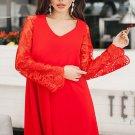 Red Sheer Floral Sleeve Swing Dress