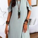 Ruffle Cold Shoulder V Neck Mini Dress