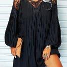 Pleated Lace Patchwork Lantern Sleeve Mini Dress
