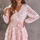 Pink V Neck Double Layer Ruffle Hem Floral Print Short Dress