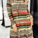 Striped Turtleneck Long Sleeve Shirt Mini Dress with Pocket