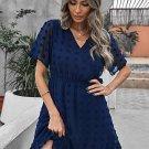 Blue Wrap V Neck Swiss Dot Mini Dress with Ruffles