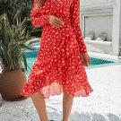 Red Long Sleeve Surplice V Neck Printed Midi Dress with Sash