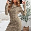 Asymmetric Buttoned Collar Apricot Bodycon Sweater Dress