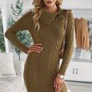 Asymmetric Buttoned Collar Bodycon Sweater Dress