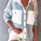 Sky Blue Colorblock Fleece Pockets Buttoned Shirt