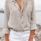 Beige Buttoned Turn Down Collar Shirt with Pocket