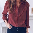 Wine Red Ruffles Crinkled Long Sleeve Shirt