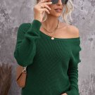 Green Cross Back Hollow out Sweater
