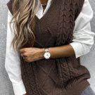 Brown Sleeveless Cable Knitted Sweater Tank