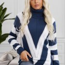 Blue Striped Color Block Turtleneck Knitted Sweater