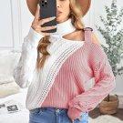 Pink Turtleneck Cold Shoulder Sweater