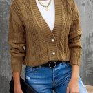Khaki Buttons Weave Knit Cardigan