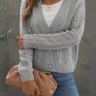 Gray Buttons Weave Knit Cardigan