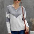 Gray Colorblock V Neck Casual Sweater