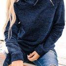High Neck Zipper Blue Sweatshirt