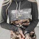 Cowl Neck Sequin Camo Splicing Hoodie