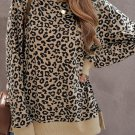 Leopard Pullover Sweatshirt with Slits