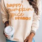 Beige Letter Print Pullover Graphic Sweatshirt