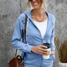 Sky Blue Ripped Zipper Pocket Hoodie