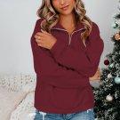 Wine Red Zipped Collar Sweatshirt