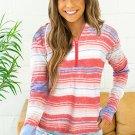 Multicolor Stripe Print Zipper Hoodie