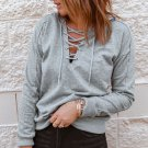 Grey Casual Solid Color Lace Up Hoodie
