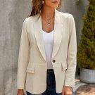 Beige Lapel Collar Button Pocket Blazer
