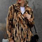 Tiger Print Lapel Plush Faux Fur Coat