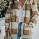 Brown Plaid Print Zipper Fleece Hooded Coat