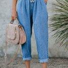 Sky Blue Drawstring Pocketed Straight Leg Denim Pants
