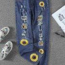Leopard Patchwork Sunflower Print Distressed High Waist Jeans
