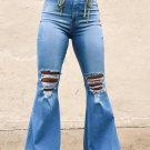 Sky Blue High Waist Raw Hem Button Ripped Flare Jeans