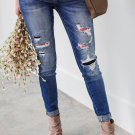 Aztec Patch Ripped Slim-fit Jeans