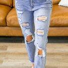 Sky Blue Distressed Raw Hem Straight Leg Jeans