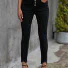 Black Plain High Waist Buttons Frayed Cropped Denim Jeans