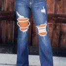 Blue Mid Waist Distressed Flared Jeans