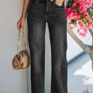 Black Raw Hem Straight Leg Jeans