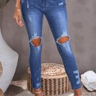 Blue Ripped Distressed High Waist Skinny Jeans
