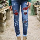 Patches Of Plaid Denim Distressed Jeans