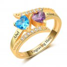 Birthstone & Engraved Sterling Silver Ring With Gold Plating (RI102963)