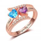 Birthstone Engraved Silver Ring With Rose Gold Plating (RI102962)