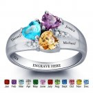 Birthstone Engraved Personalized Ring Sterling Silver (RI101793)