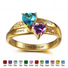 Personalized Birthstone Silver Ring (RI102346)