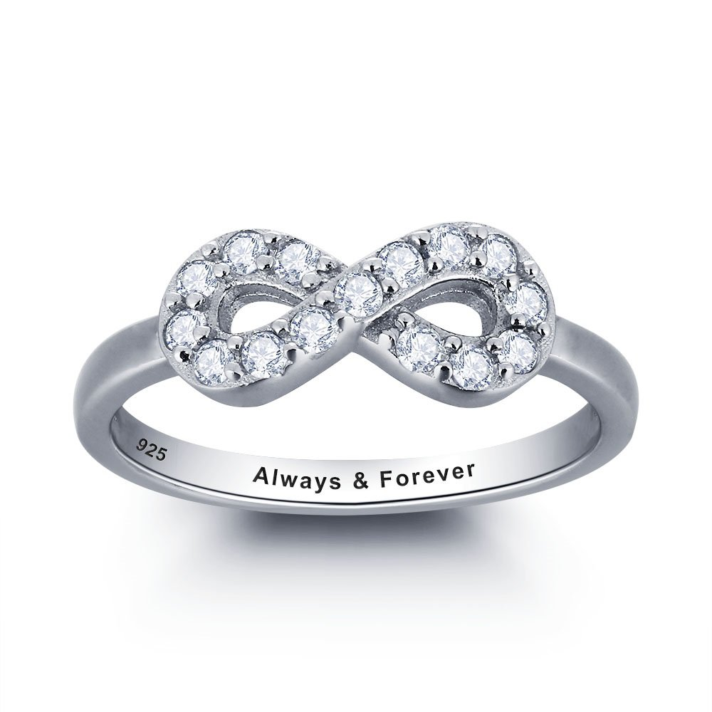 Sterling Silver Personalized Infinity Ring (RI101786)